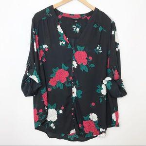 TORRID | Floral Button Front Georgette Blouse 2X
